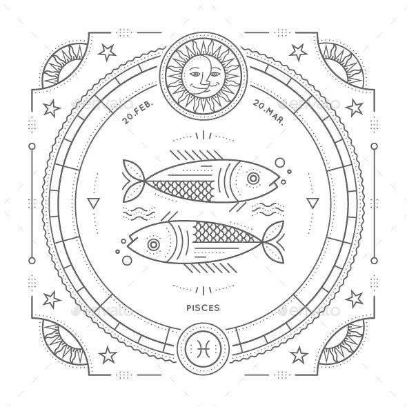 Pisces Zodiac Symbol - Miscellaneous Vectors