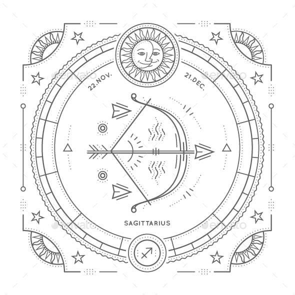 Sagittarius Zodiac Symbol - Miscellaneous Vectors