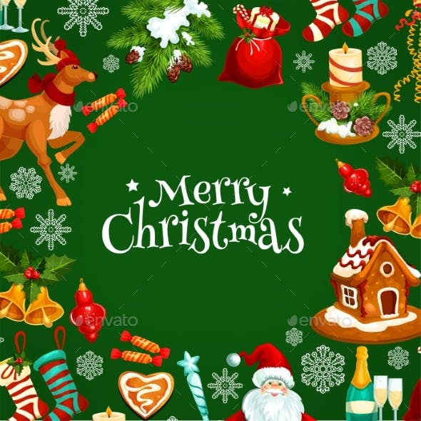 Merry Christmas Greeting Card or Poster Design