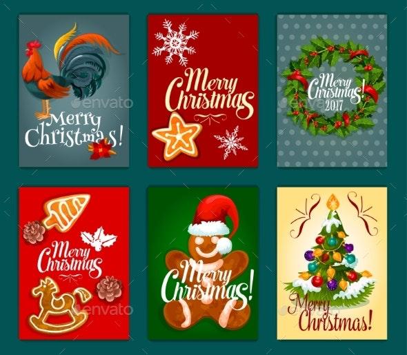 Christmas Day Festive Poster and Greeting Card Set - Christmas Seasons/Holidays