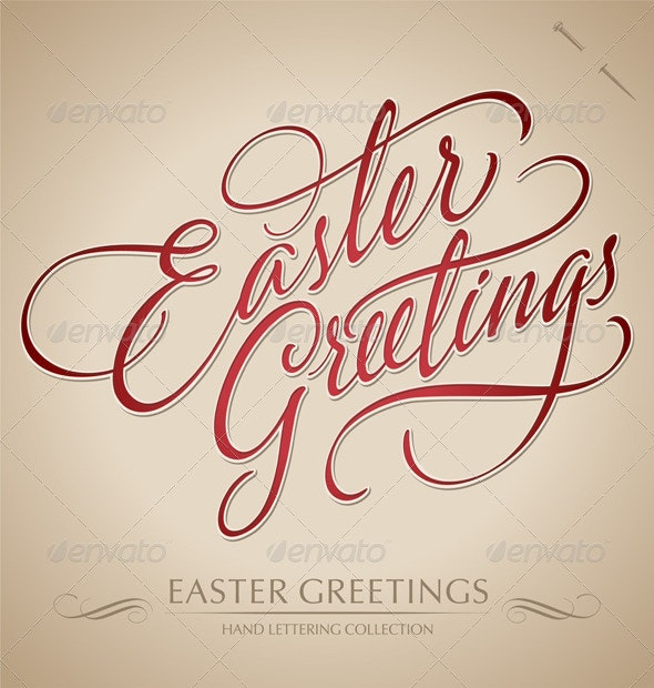 'Easter Greetings' Hand Lettering (vector) - Seasons/Holidays Conceptual