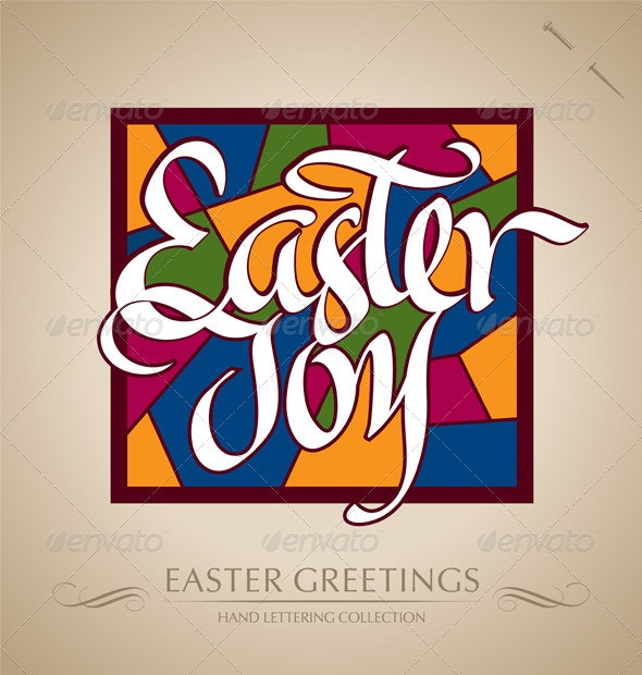 'Easter Joy' Hand Lettering (vector) - Seasons/Holidays Conceptual