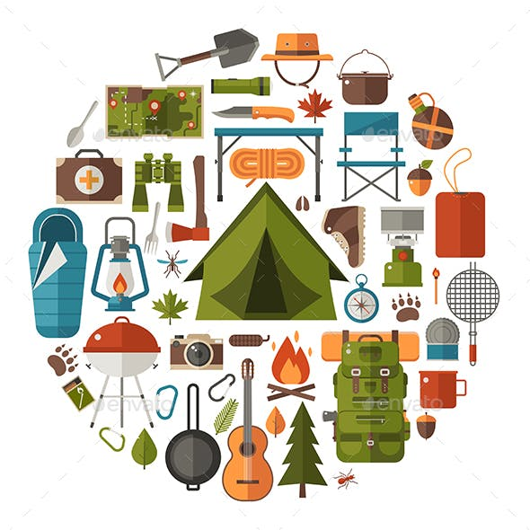 Camping Lifestyle Icons in Circle