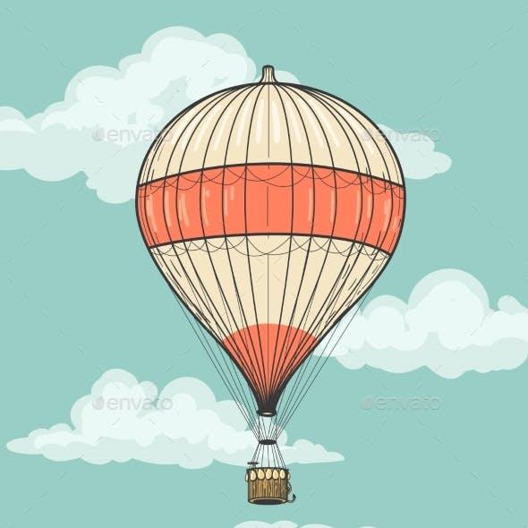 Retro Hot Air Balloon With Ribbon
