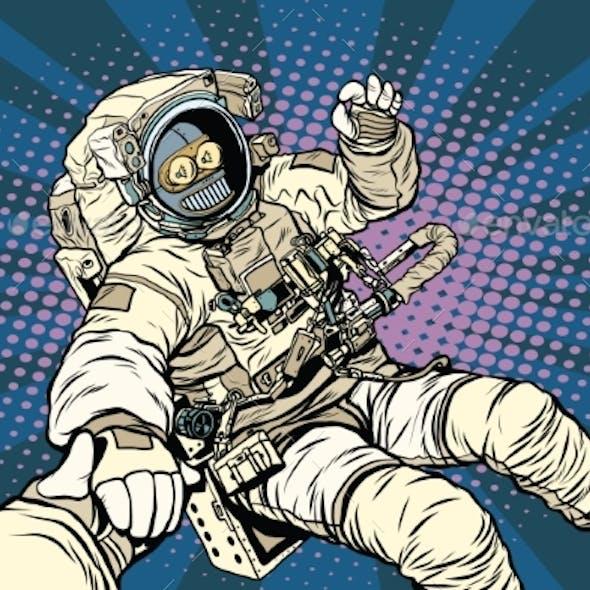 Follow Me Robot Astronaut Gesture Okay