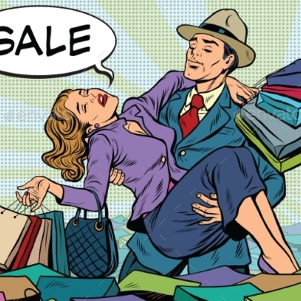 Retro Man Rescues a Woman From Sales and Purchases