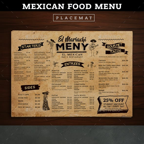 Placemat Menu Templates From Graphicriver