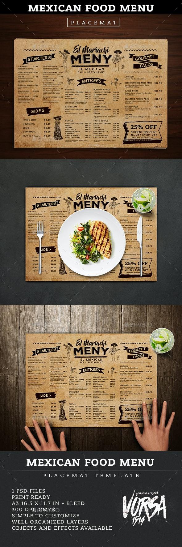 Mexican Food Menu Placemat template - Food Menus Print Templates