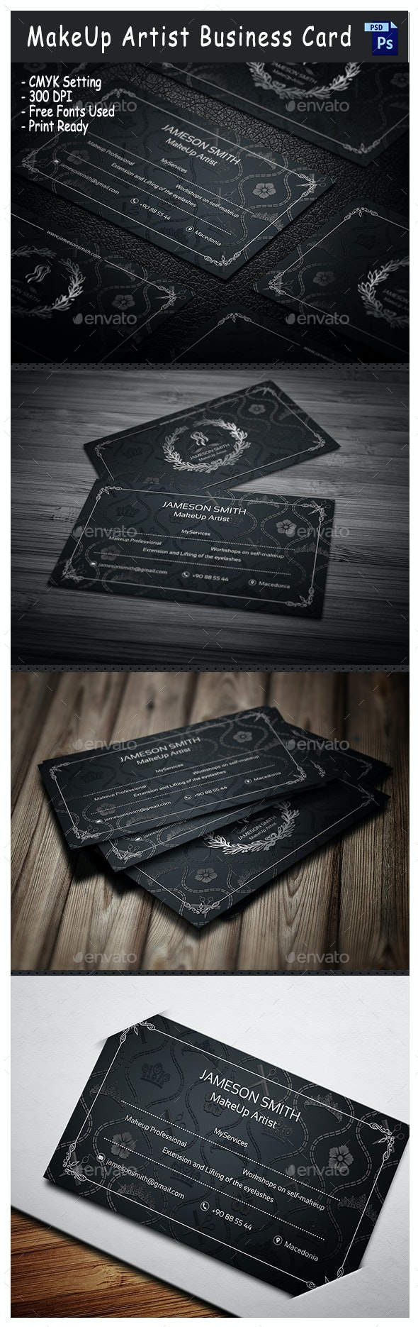 MakeUp Artist Business Card - Industry Specific Business Cards