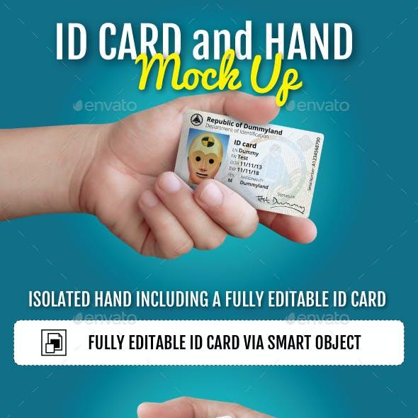 ID Card and Hand Mockup