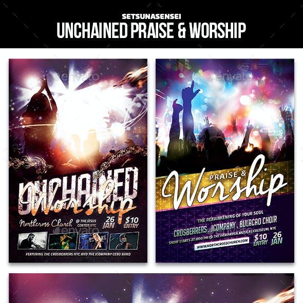 Unchained Praise & Worship Church Flyer