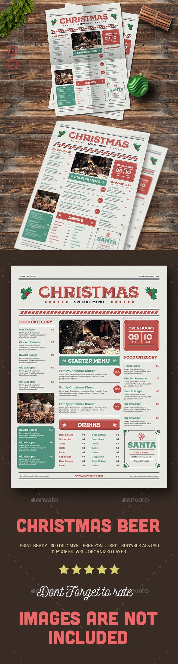 Special Christmas Menu - Food Menus Print Templates