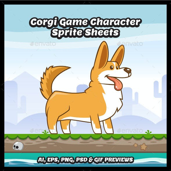 Corgi Game Character Sprite Sheets