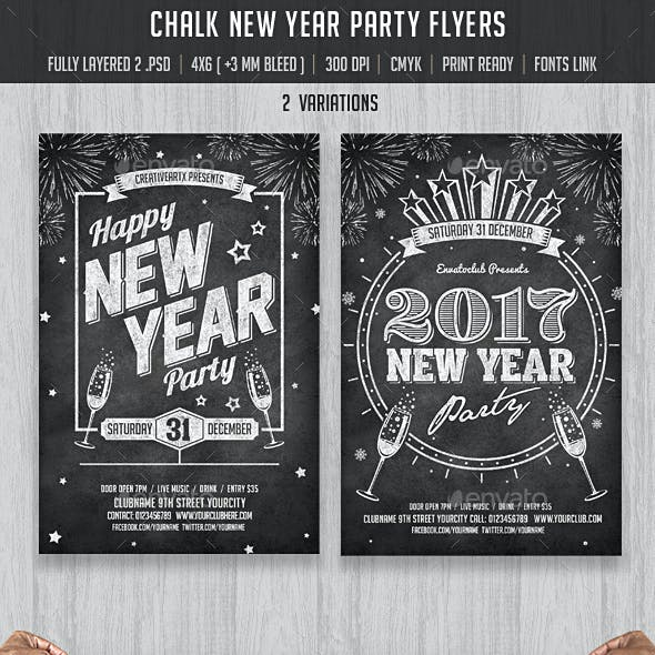Chalk New Year Party Flyer