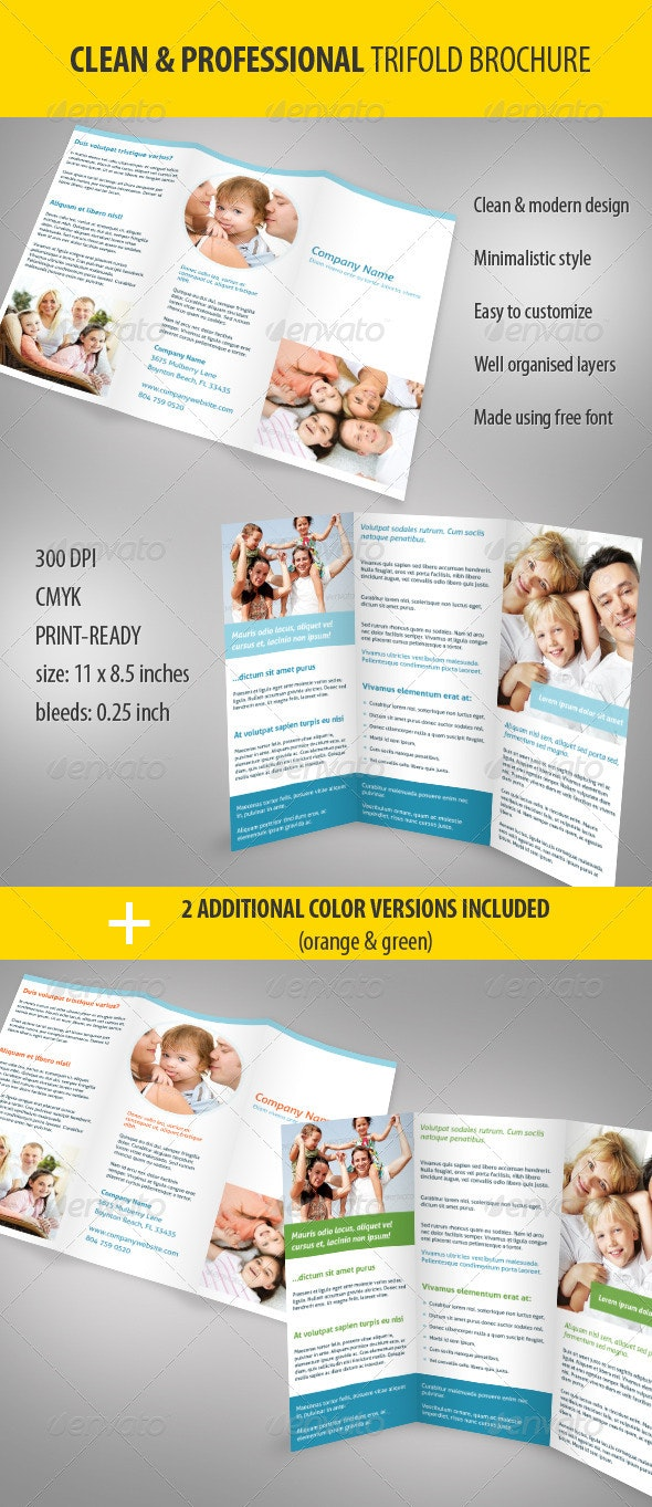 Clean & Professional Trifold Brochure - Corporate Brochures