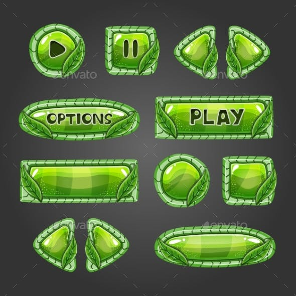 Cartoon Green Buttons with Leaves.