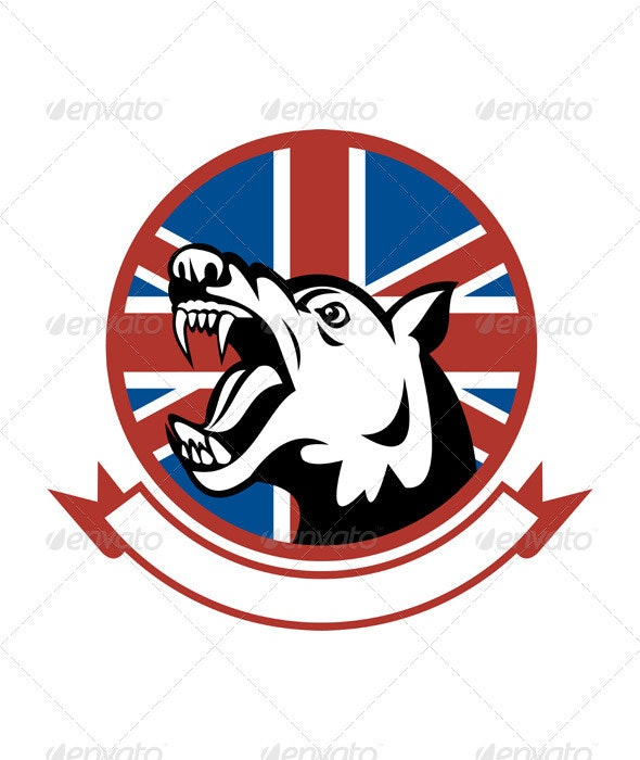Angry Dog Mascot British Flag - Animals Characters