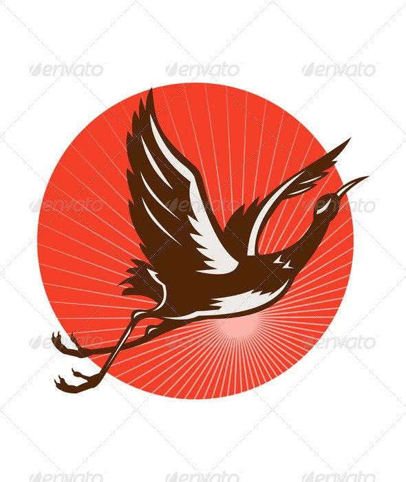 Heron Crane Bird Flying Retro - Animals Characters