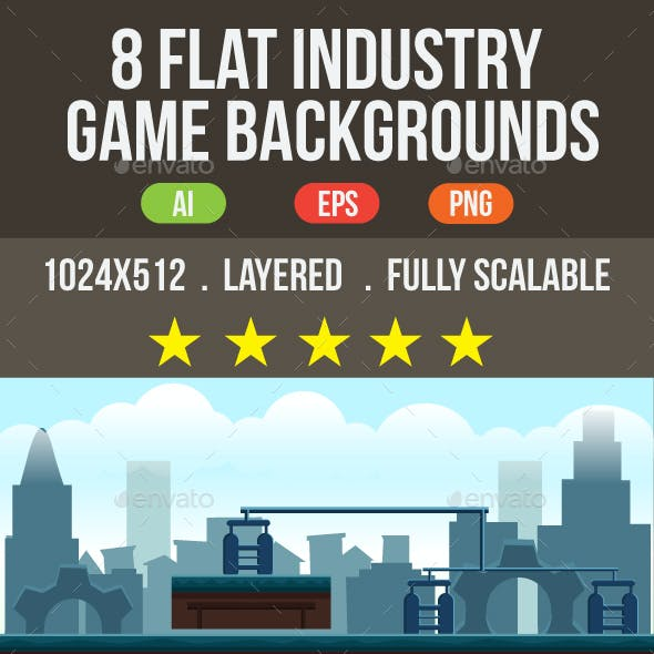 8 Flat Industrial Game Backgrounds