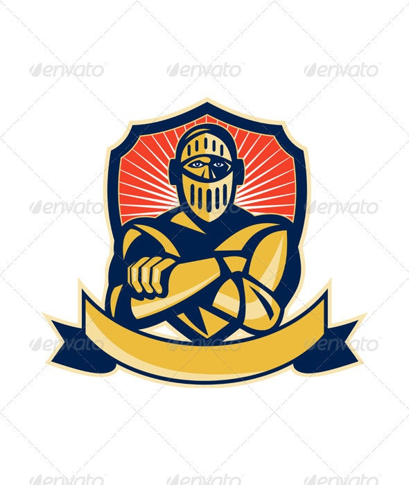 Knight Arms Crossed Shield - People Characters