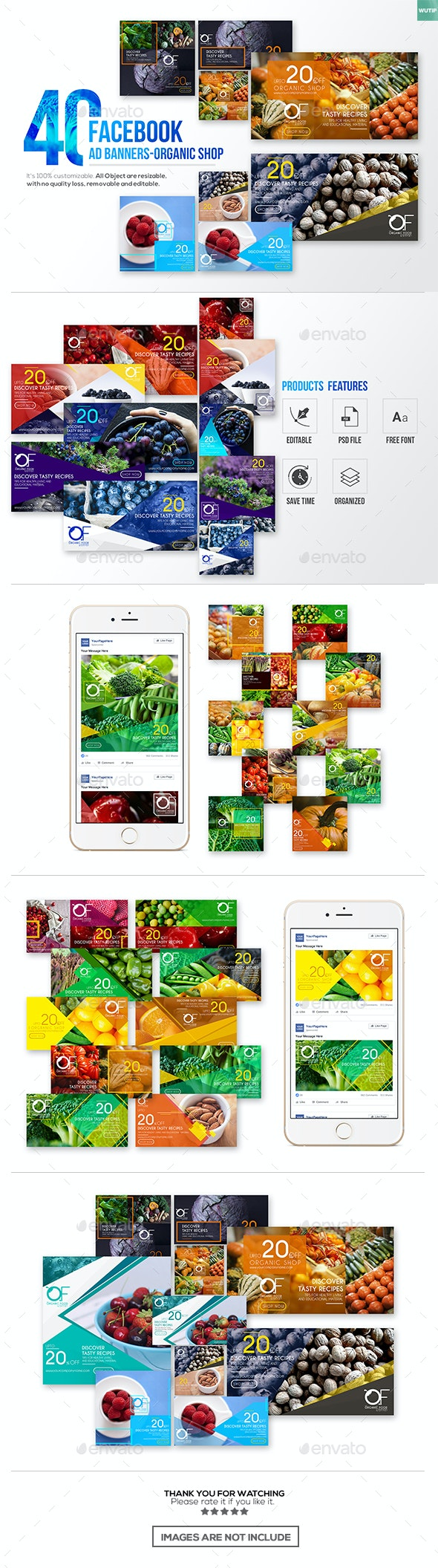 40 Facebook Ad Banners-Organic Shop - Banners & Ads Web Elements