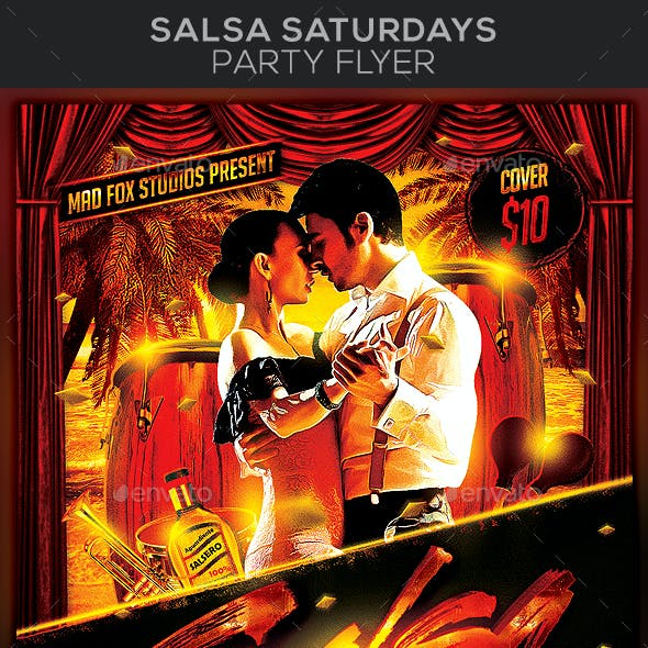 Salsa Saturdays with Live Bands Party Flyer