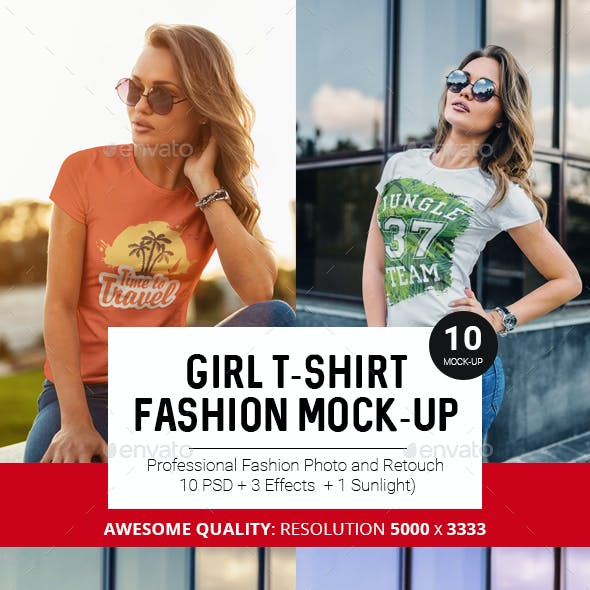 T-Shirt Mock-Up Fashion Girl