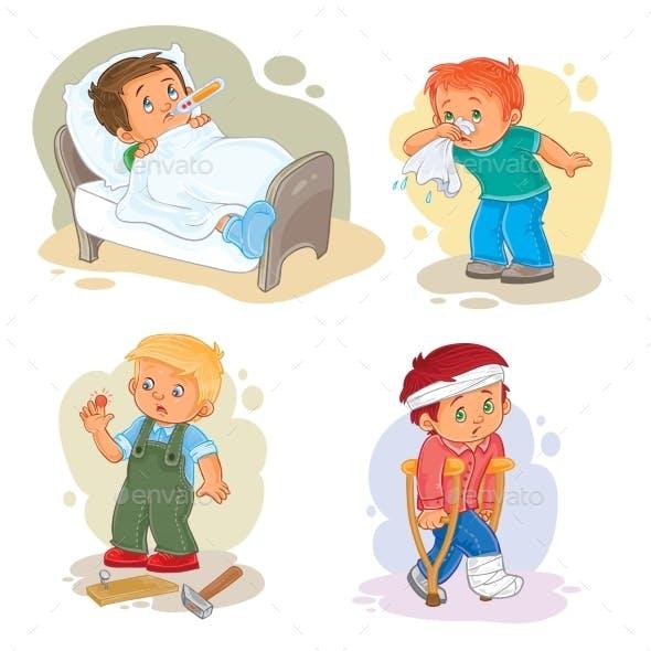 Little Boy Sick Icons Set