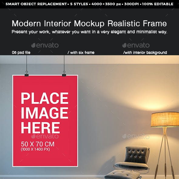 Modern Interior Realistic Frame Mockup Design