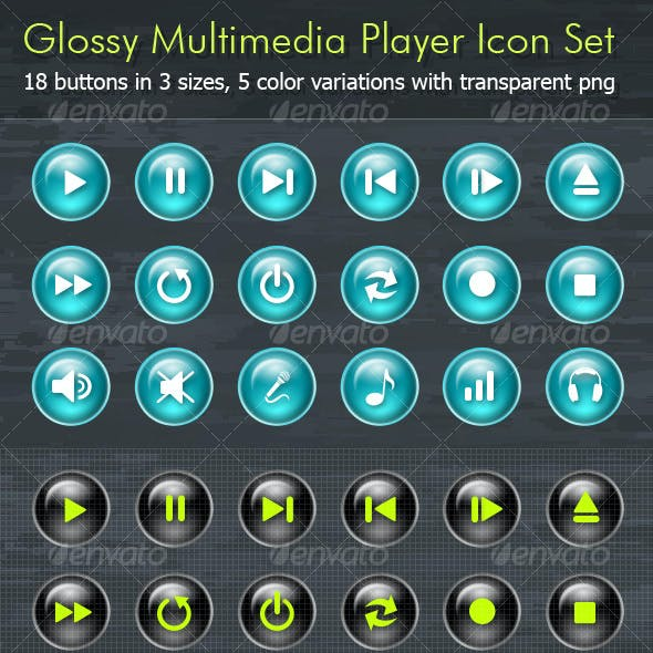 Glossy Multimedia Player Icon Set