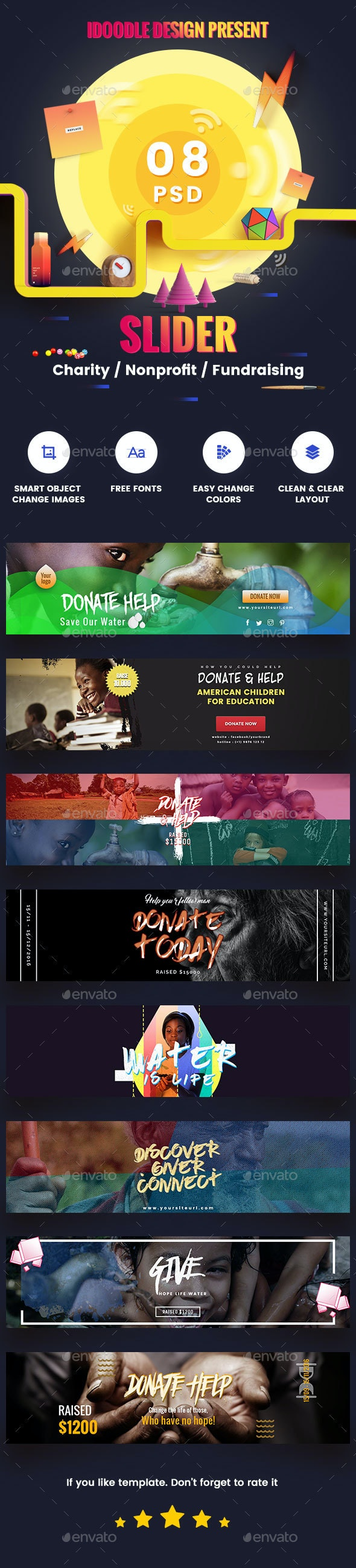 Charity / Nonprofit / Fundraising Sliders - 08 PSD