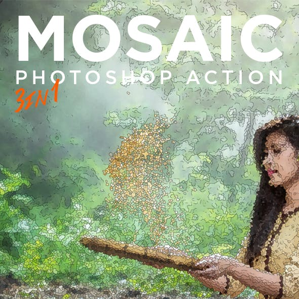 Mosaic Photoshop Action - Mosaic Creator Action