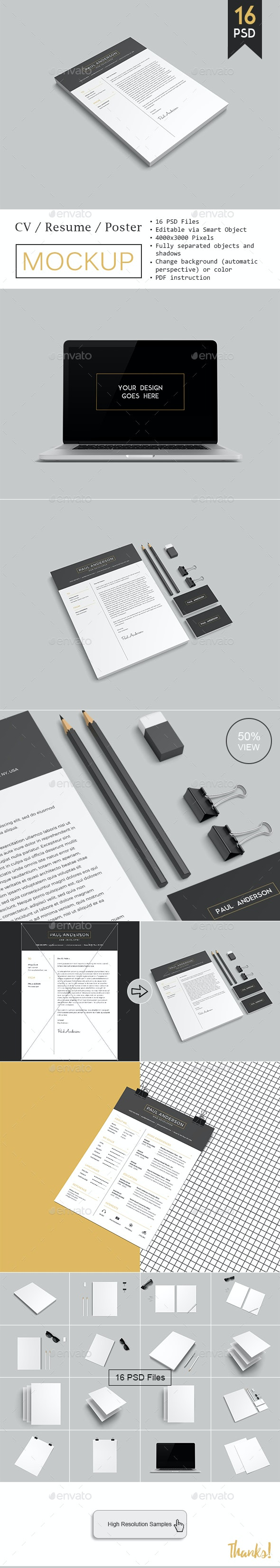 CV / Resume Mockup - Product Mock-Ups Graphics