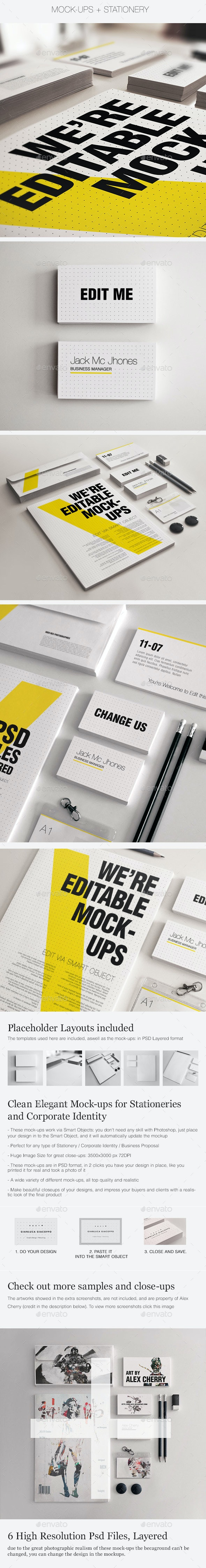 Realistic Stationery Mock-up Set 3- Corporate ID - Print Product Mock-Ups