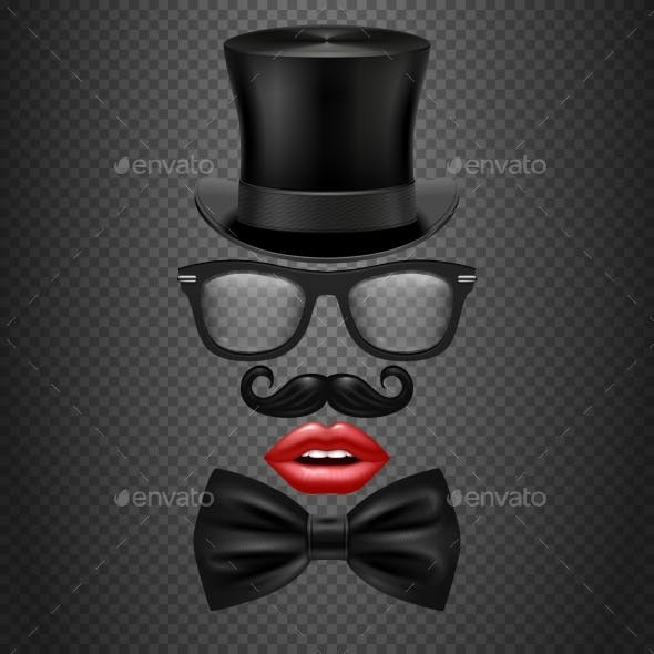 Mustache, Bow Tie, Glasses, Red Girl Lips