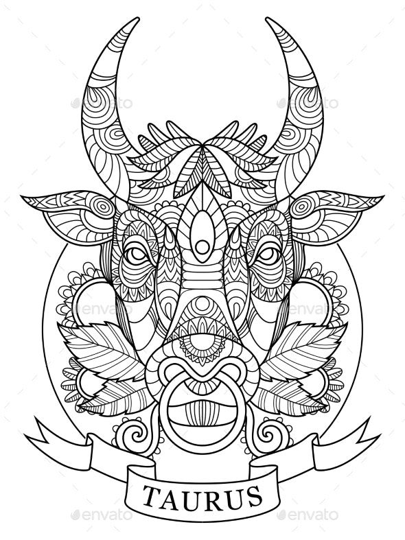 Taurus Zodiac Sign Coloring Book for Adults Vector by