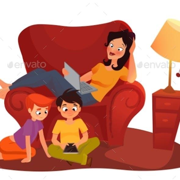 Girl Is Watching Online Movie. Vector Cartoon