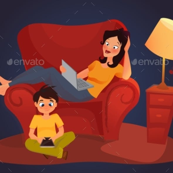 Young Mother Is Working At Home, Cartoon