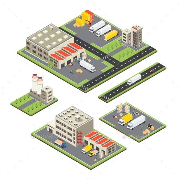 Isometric Warehouse Territories Set