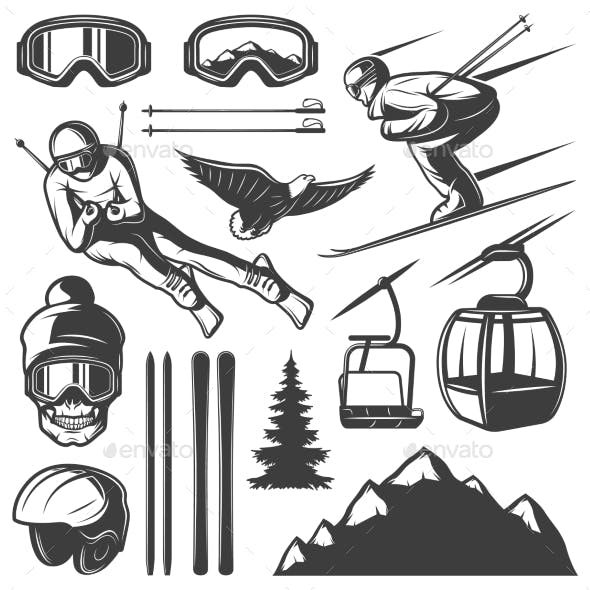 Nordic Skiing Elements Set
