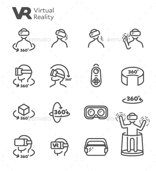 VR Virtual Reality Vector Line Icon Set