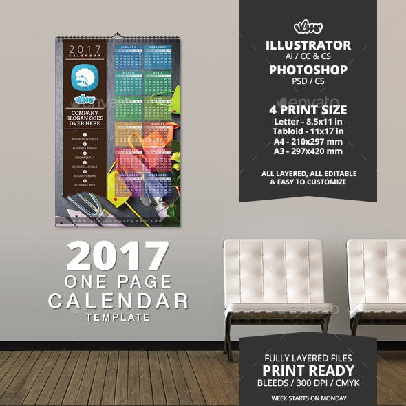 2017 One Page Calendar Template