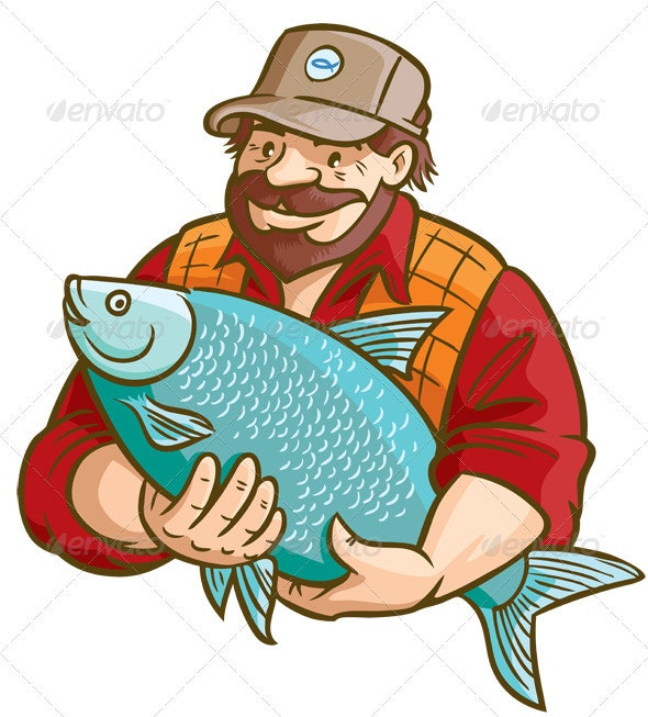 Fisherman With Fish - People Characters