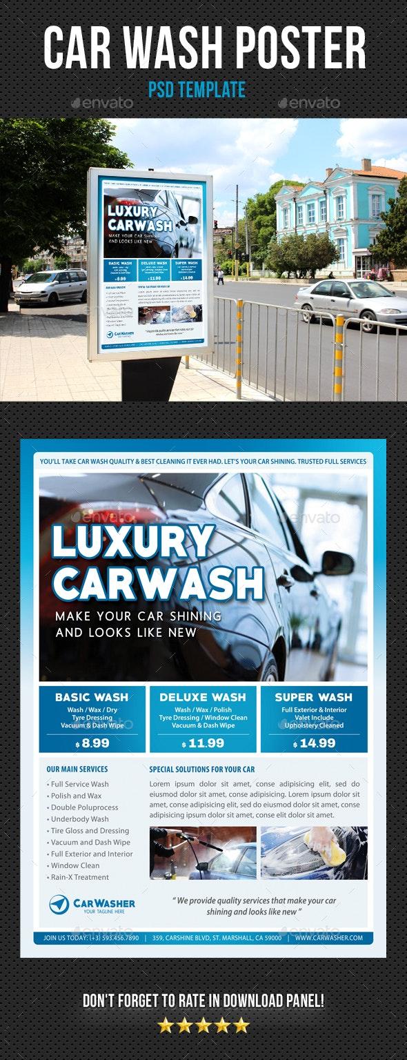 Car Wash Poster 06 - Signage Print Templates