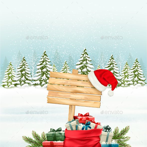 Winter Background With Gift Boxes And A Wooden Sign