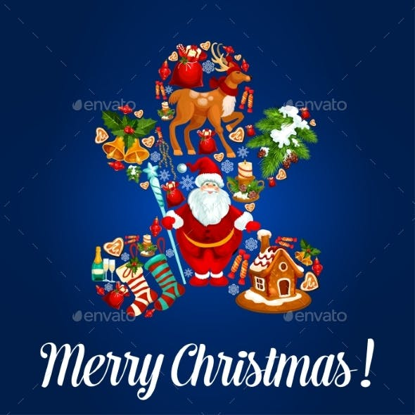 Merry Christmas Poster, Vector Greeting Card