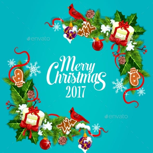 Merry Christmas 2017 Vector Poster, Greeting Card