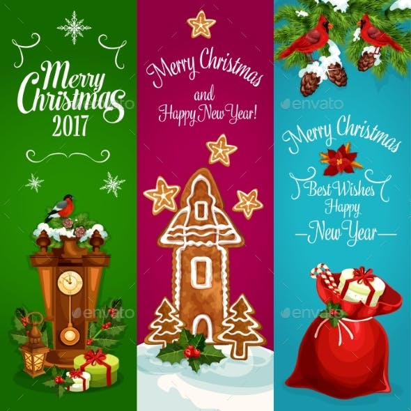 Christmas, New Year Vector Banners Set