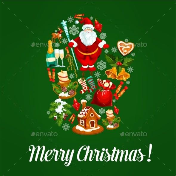 Merry Christmas Poster of Celebration Symbols