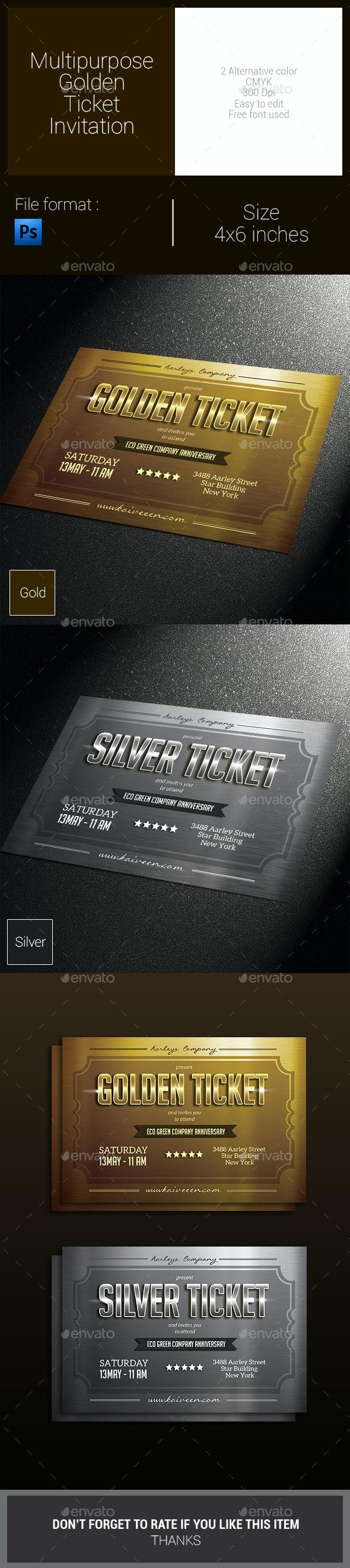 Multipurpose Golden Ticket Invitation - Invitations Cards & Invites
